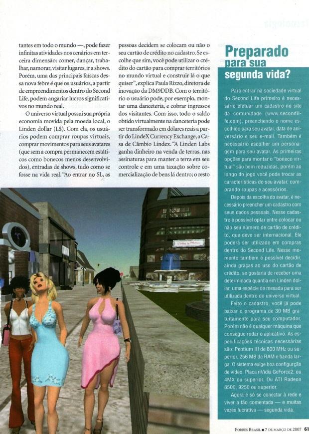Matéria sobre empresas que investiram no Second Life - Revista Forbes Brasil